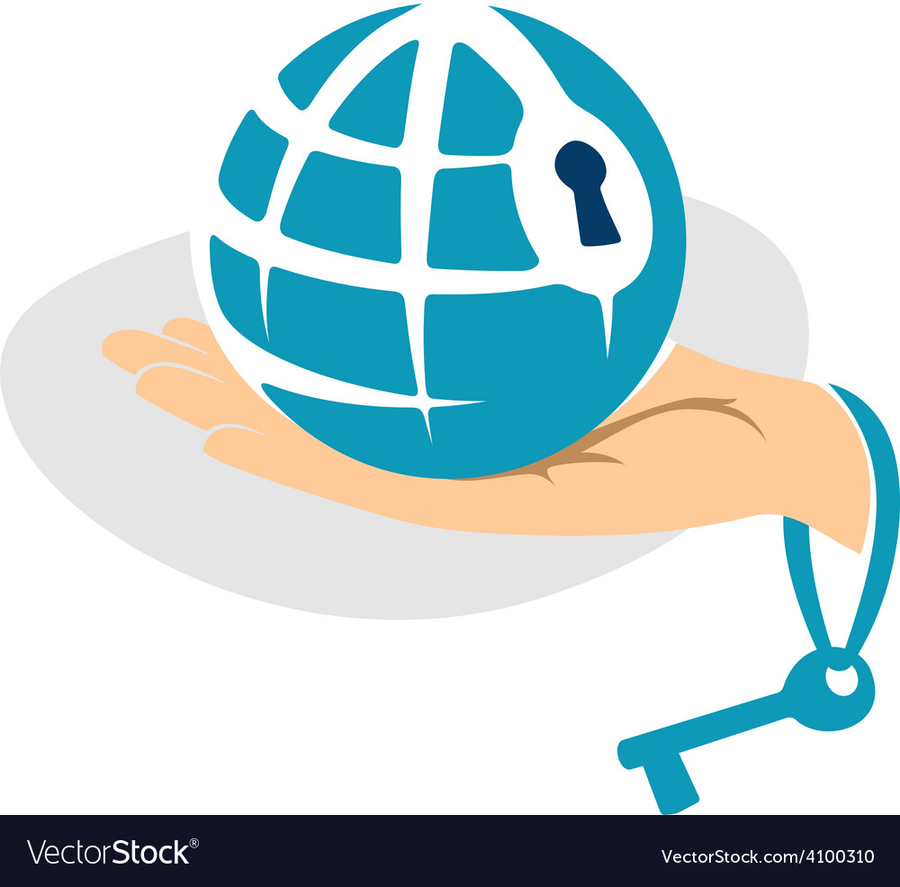 Globe in the hand with key logo template vector   Price: 1 Credit (USD $1)
