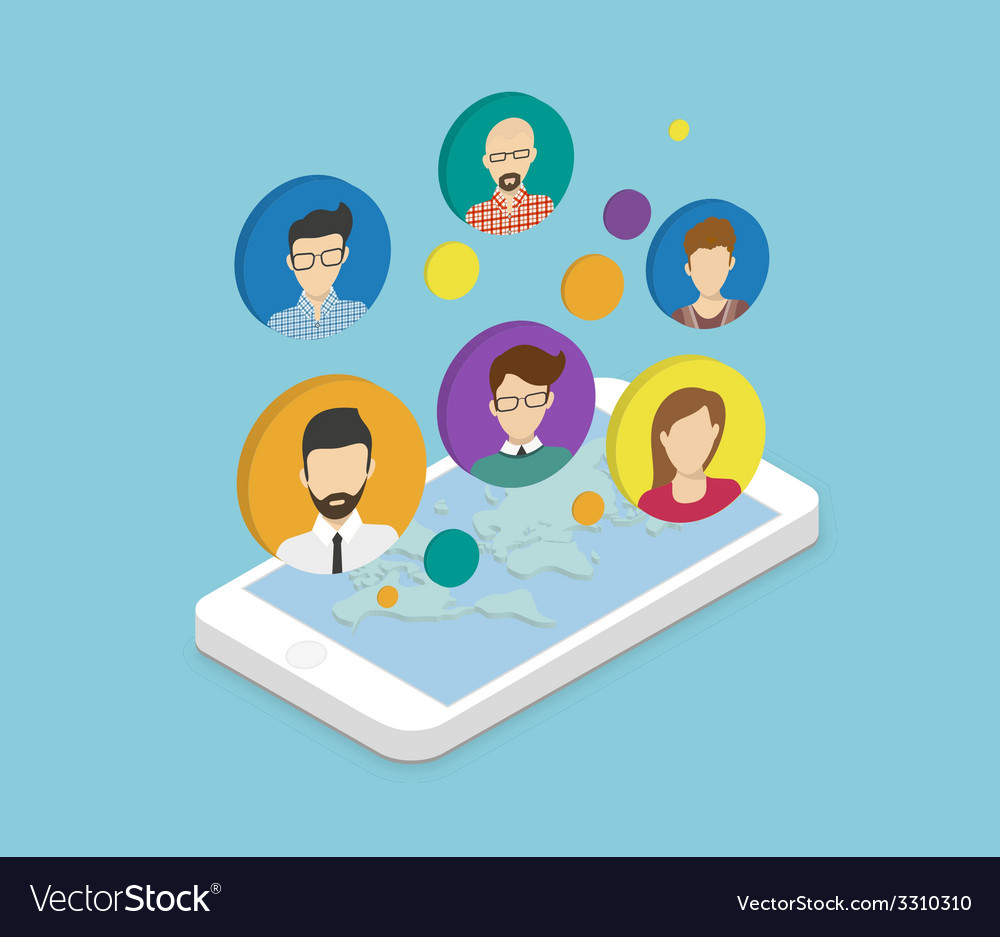 People communication via smartphone app vector | Price: 1 Credit (USD $1)