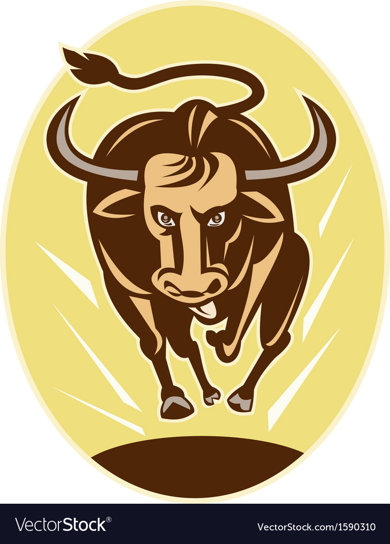 Raging texas longhorn bull charging vector | Price: 1 Credit (USD $1)