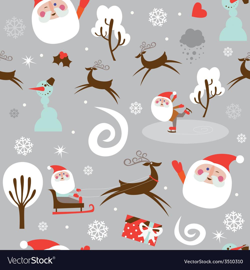 Santa at work seamless print vector | Price: 1 Credit (USD $1)