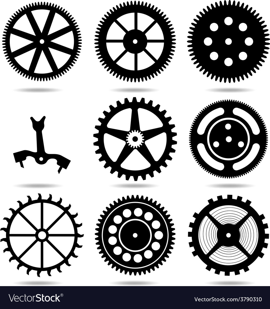 Set silhouettes of gears vector | Price: 1 Credit (USD $1)