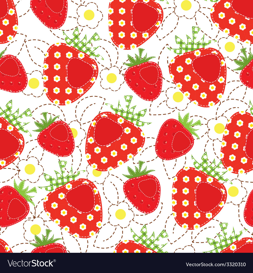 Strawberry patchwork seamless pattern vector | Price: 1 Credit (USD $1)