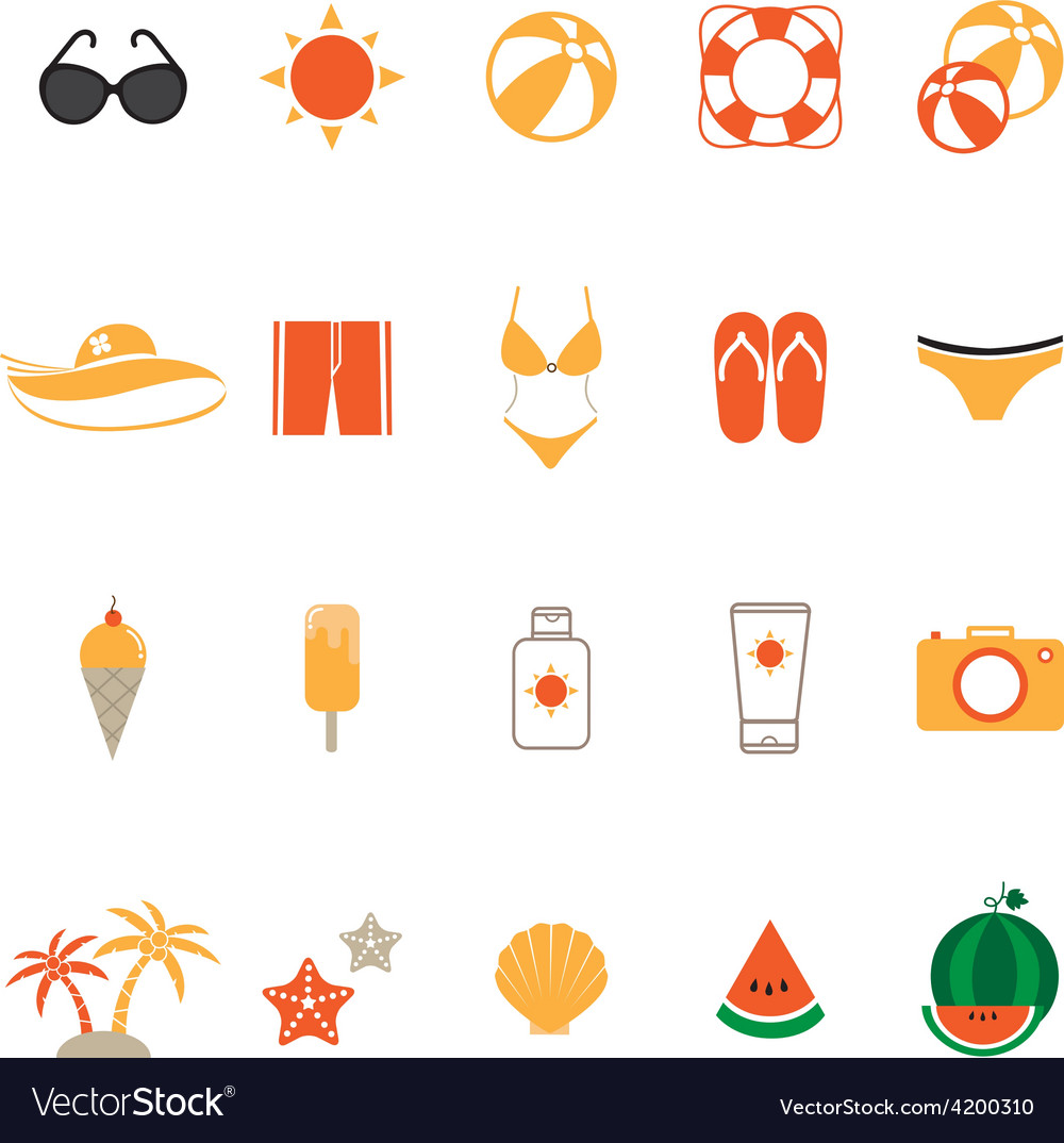 Summer icons set with white background vector | Price: 1 Credit (USD $1)