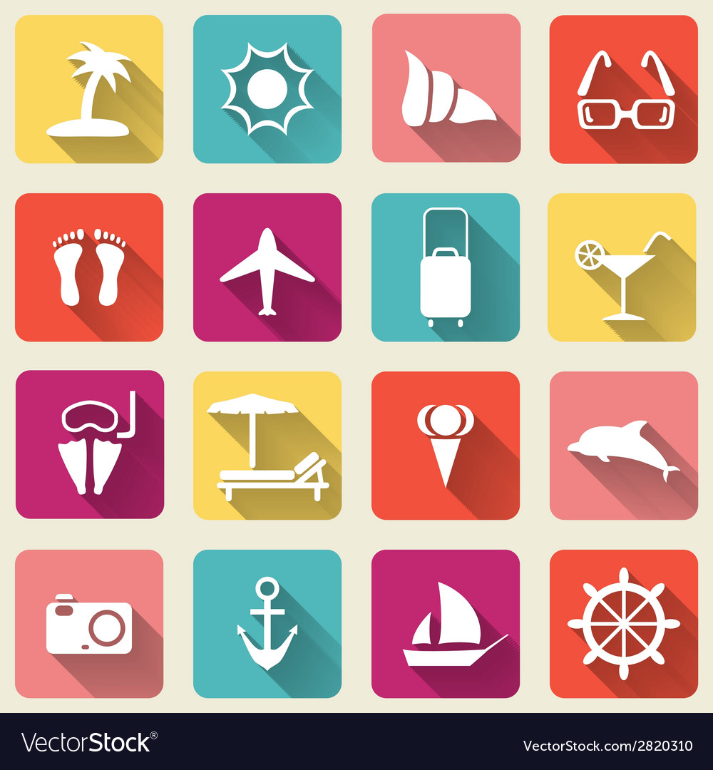 Summer travel icons long shadow vector | Price: 1 Credit (USD $1)