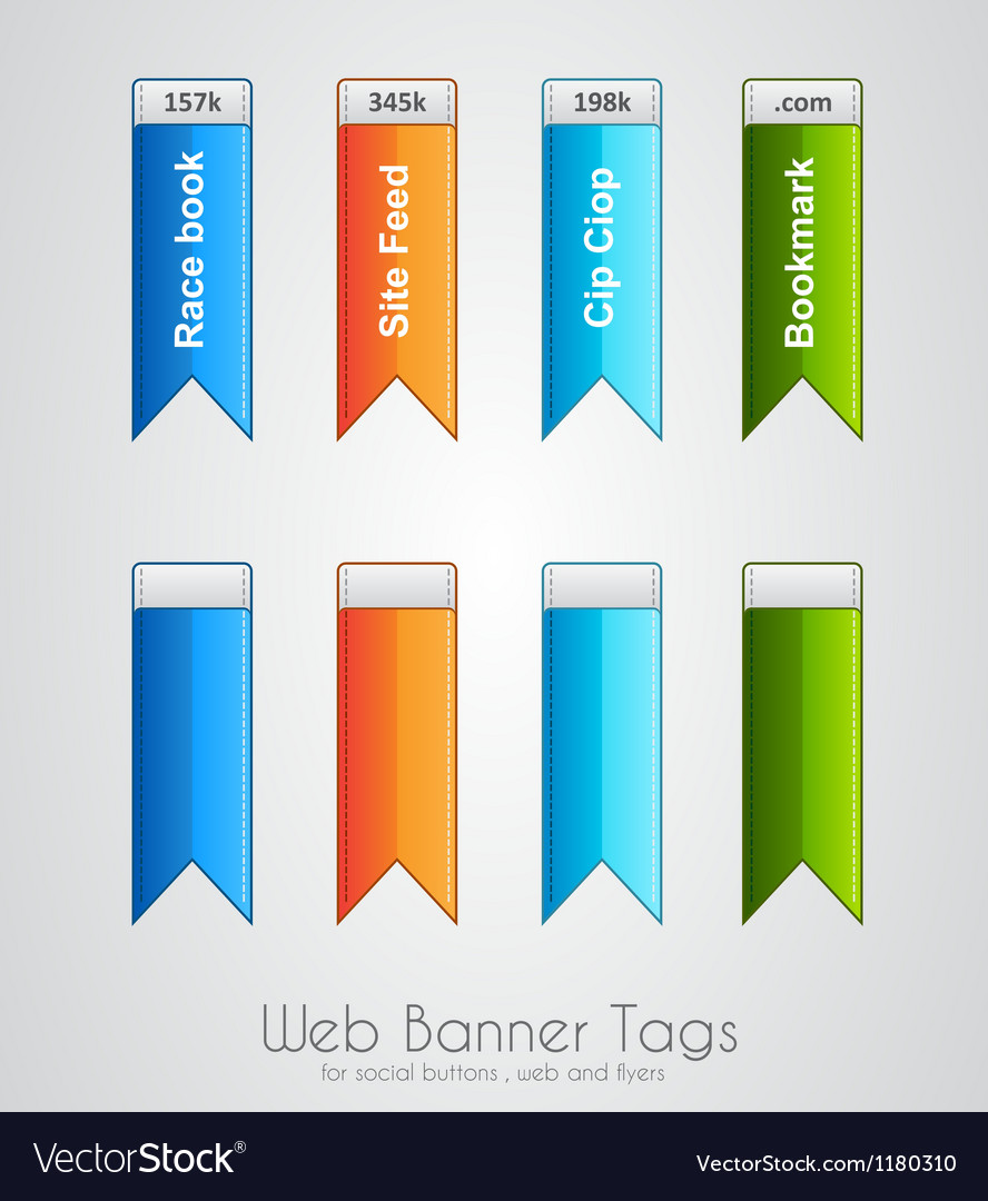 Web banner tag to use for social buttons vector | Price: 1 Credit (USD $1)