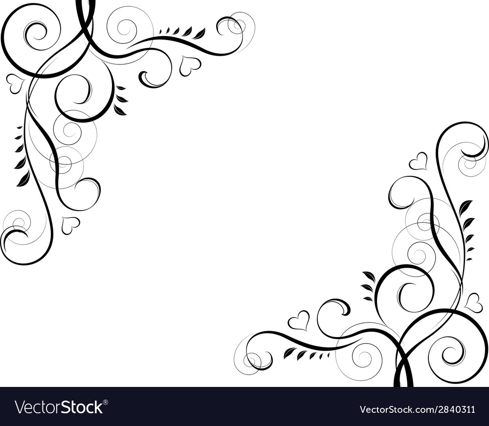 Abstract floral black decorative element frame vector | Price: 1 Credit (USD $1)