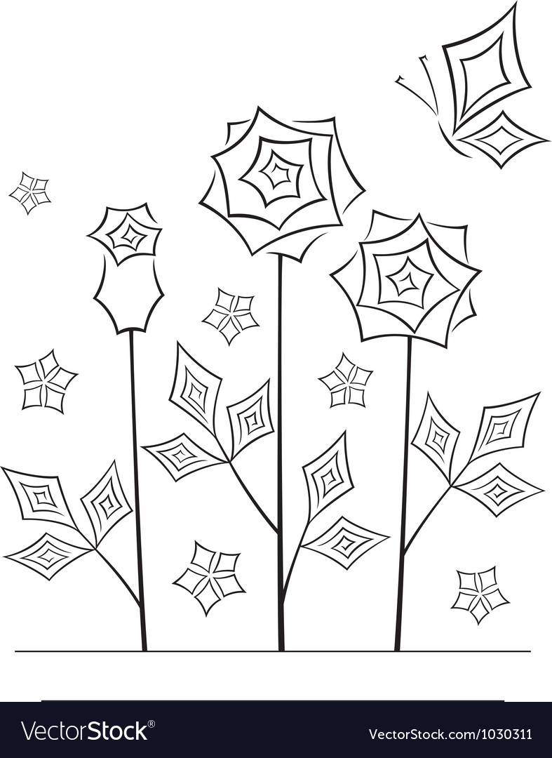 Artistic angular flower line art card vector | Price: 1 Credit (USD $1)