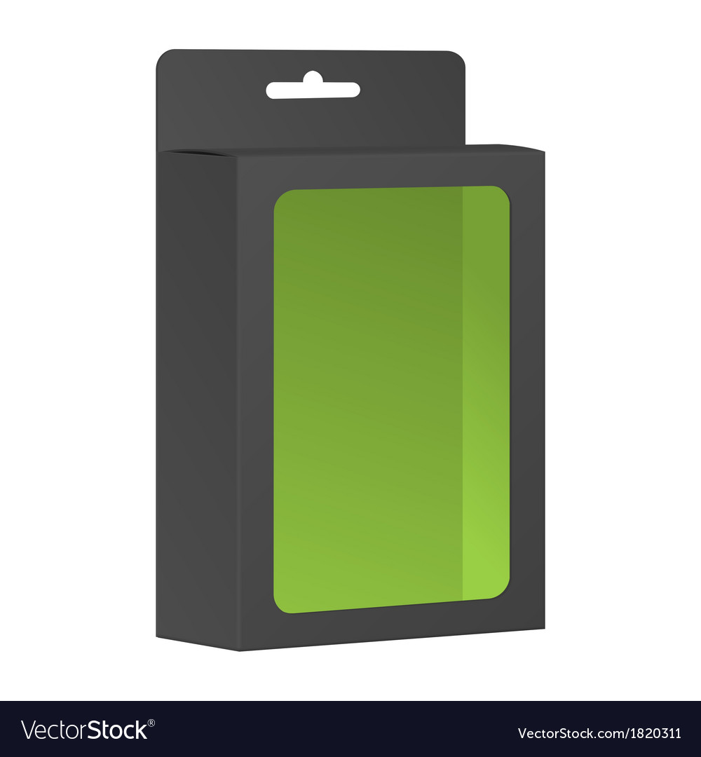 Blank black product package box with window vector | Price: 1 Credit (USD $1)