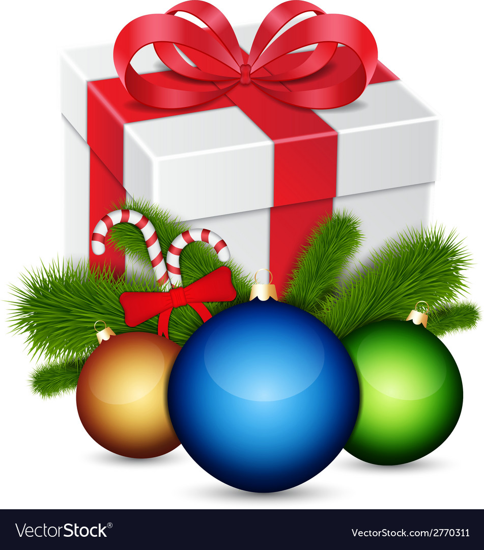 Gift with christmas balls vector | Price: 1 Credit (USD $1)