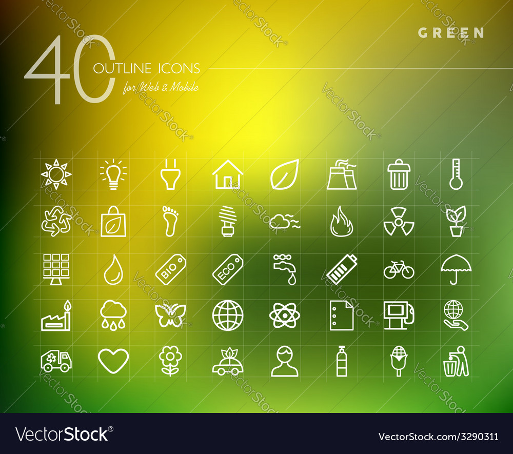 Green environment outline icons set vector | Price: 1 Credit (USD $1)