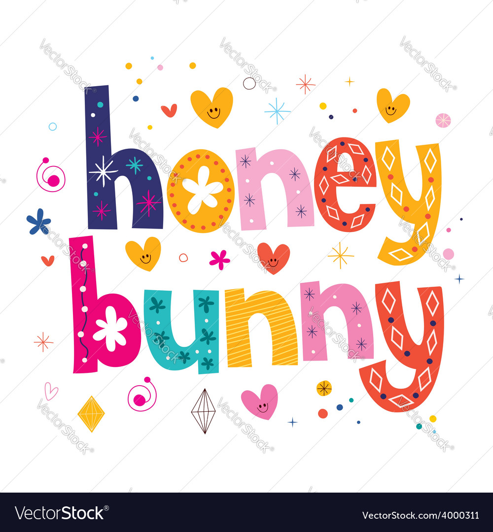 Honey bunny typography lettering design vector | Price: 1 Credit (USD $1)