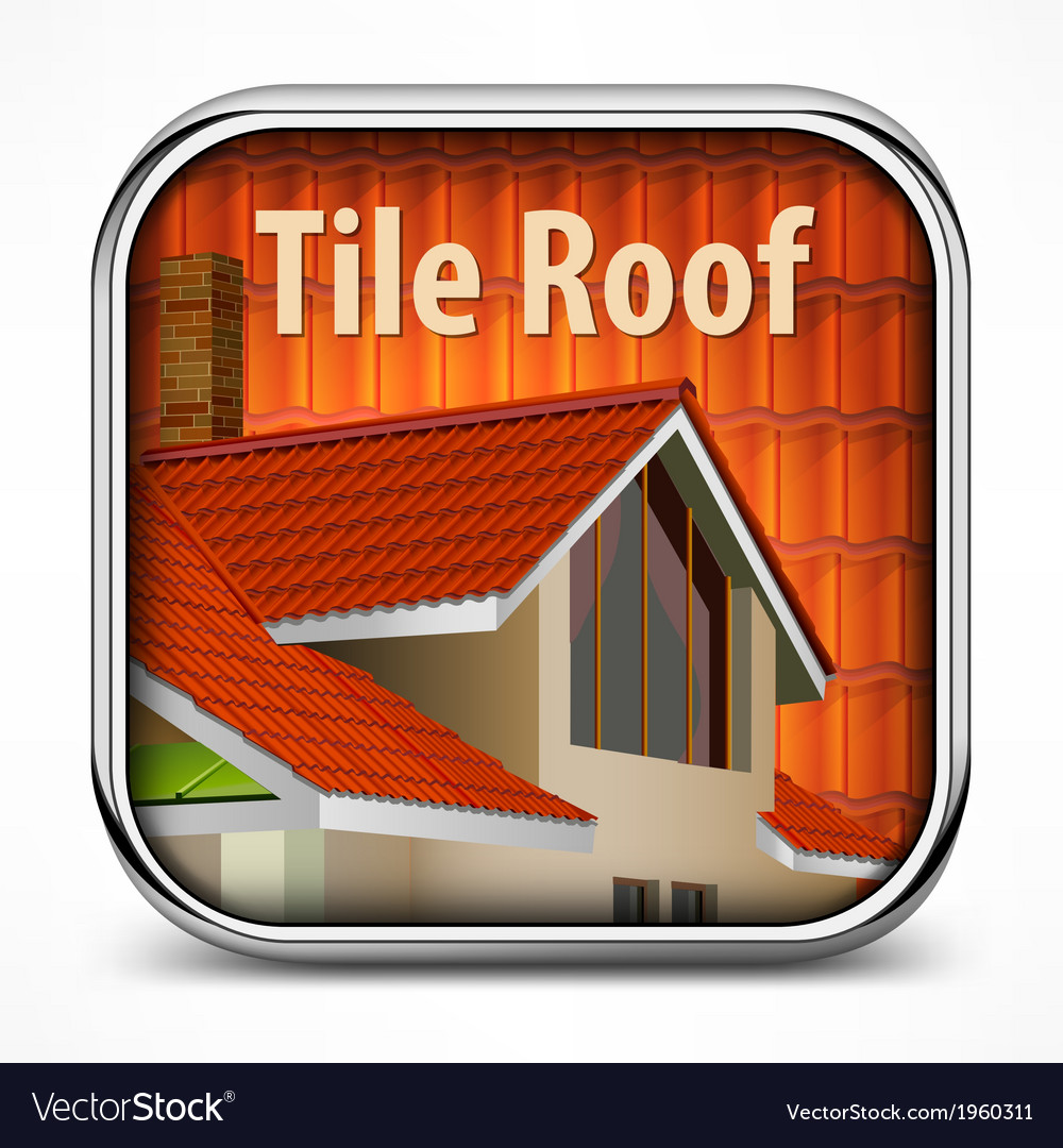 Icon with red tile roof vector | Price: 1 Credit (USD $1)