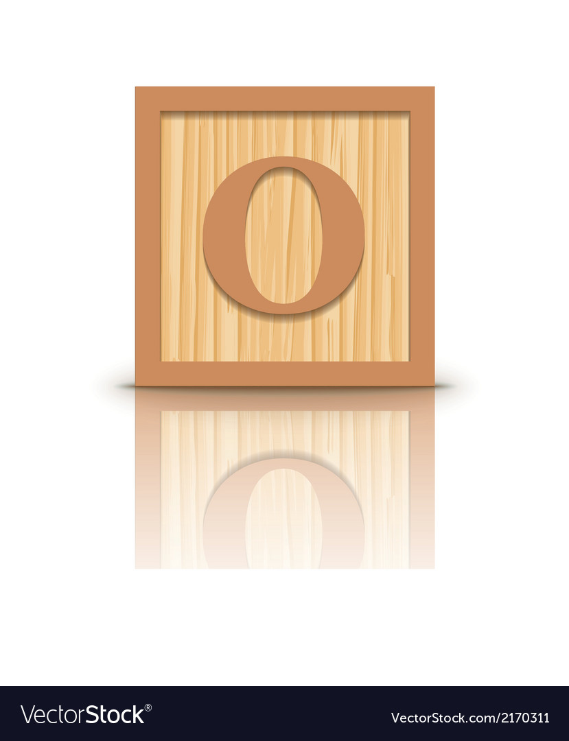 Letter o wooden alphabet block vector | Price: 1 Credit (USD $1)