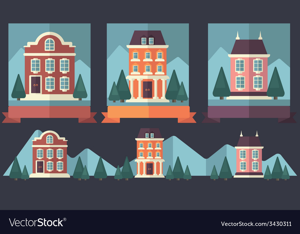 Little town vector | Price: 1 Credit (USD $1)