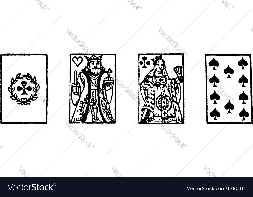 Playing cards vintage engraving vector | Price: 1 Credit (USD $1)