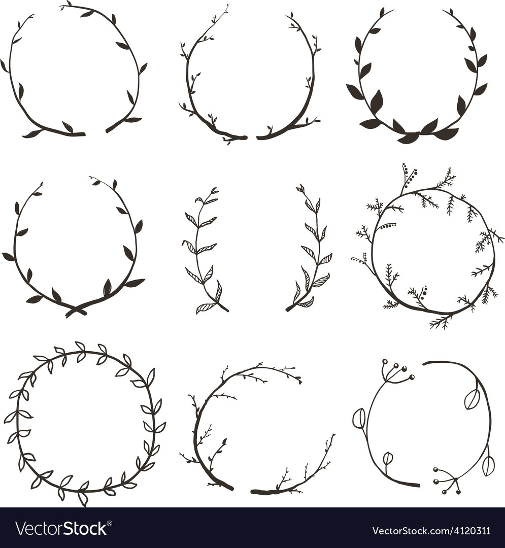 Rustic laurel and wreath collection for design vector | Price: 1 Credit (USD $1)