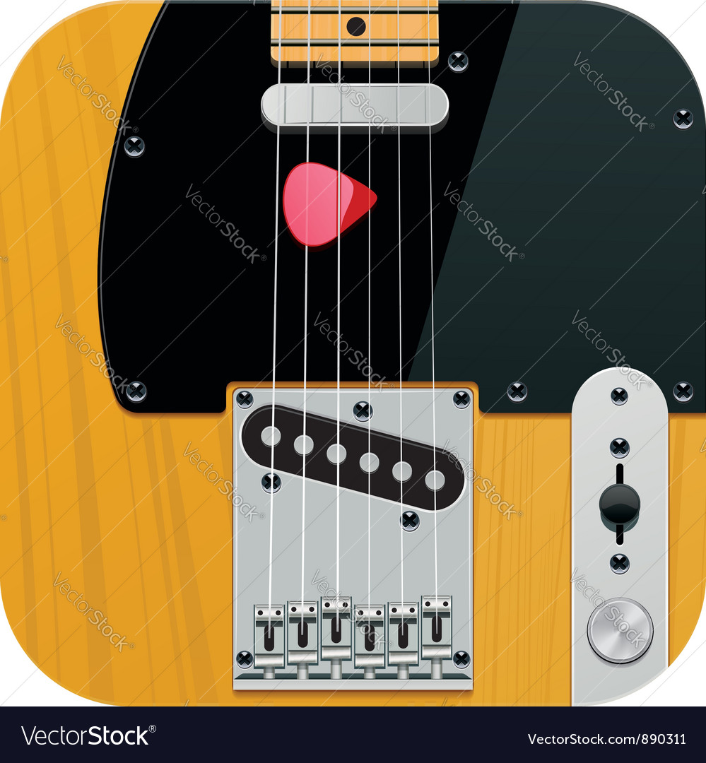 Square guitar icon vector | Price: 3 Credit (USD $3)