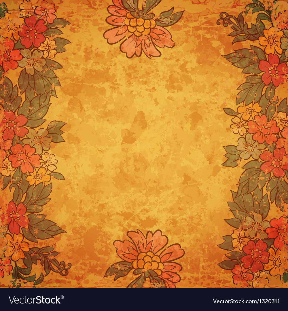 Vintage flower frame on old paper sheet vector | Price: 1 Credit (USD $1)