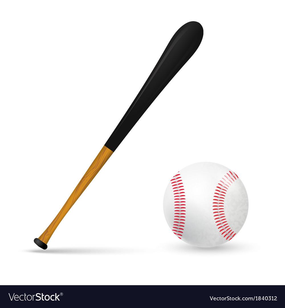 Bat and ball for baseball vector | Price: 1 Credit (USD $1)