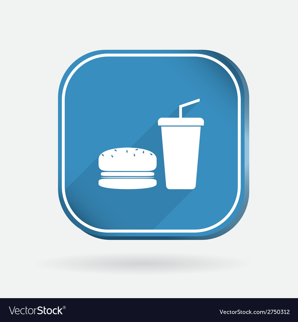 Burger and paper cup color square icon vector | Price: 1 Credit (USD $1)