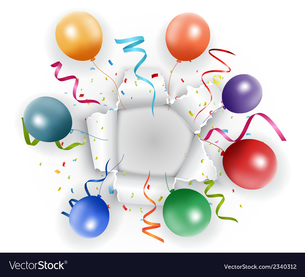 Celebration with confetti and balloon vector | Price: 1 Credit (USD $1)