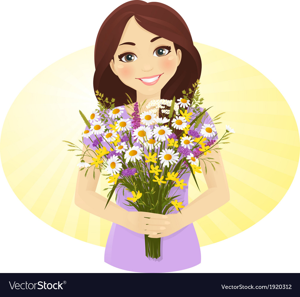 Cute girl with bunch of wild flowers vector | Price: 1 Credit (USD $1)