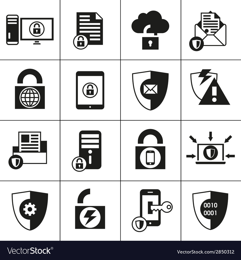 Data protection security icons vector | Price: 1 Credit (USD $1)