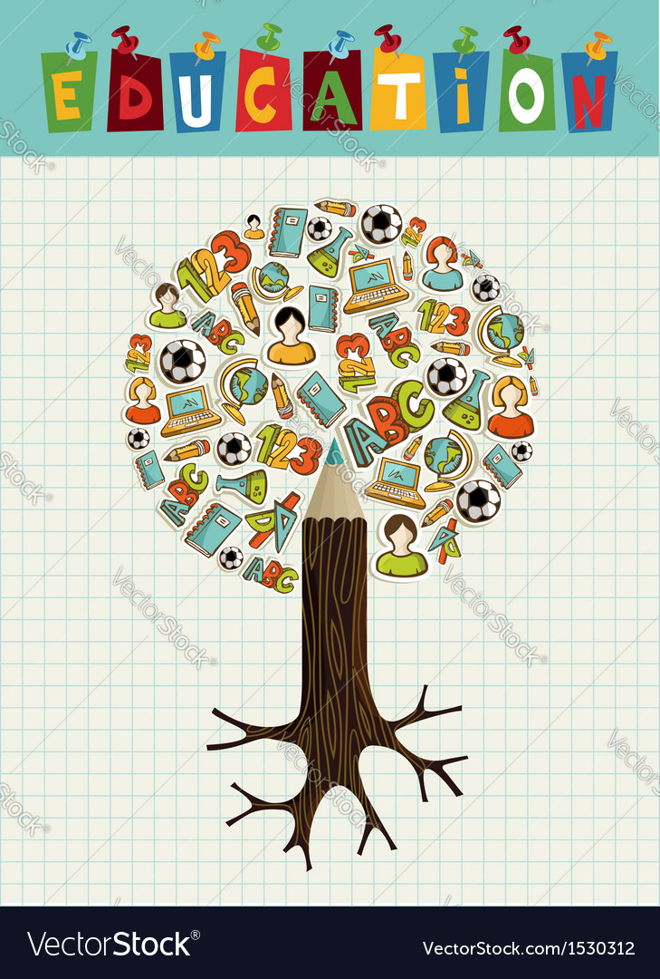 Education icons pencil tree vector | Price: 1 Credit (USD $1)