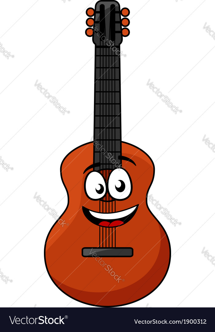 Happy wooden acoustic guitar vector | Price: 1 Credit (USD $1)