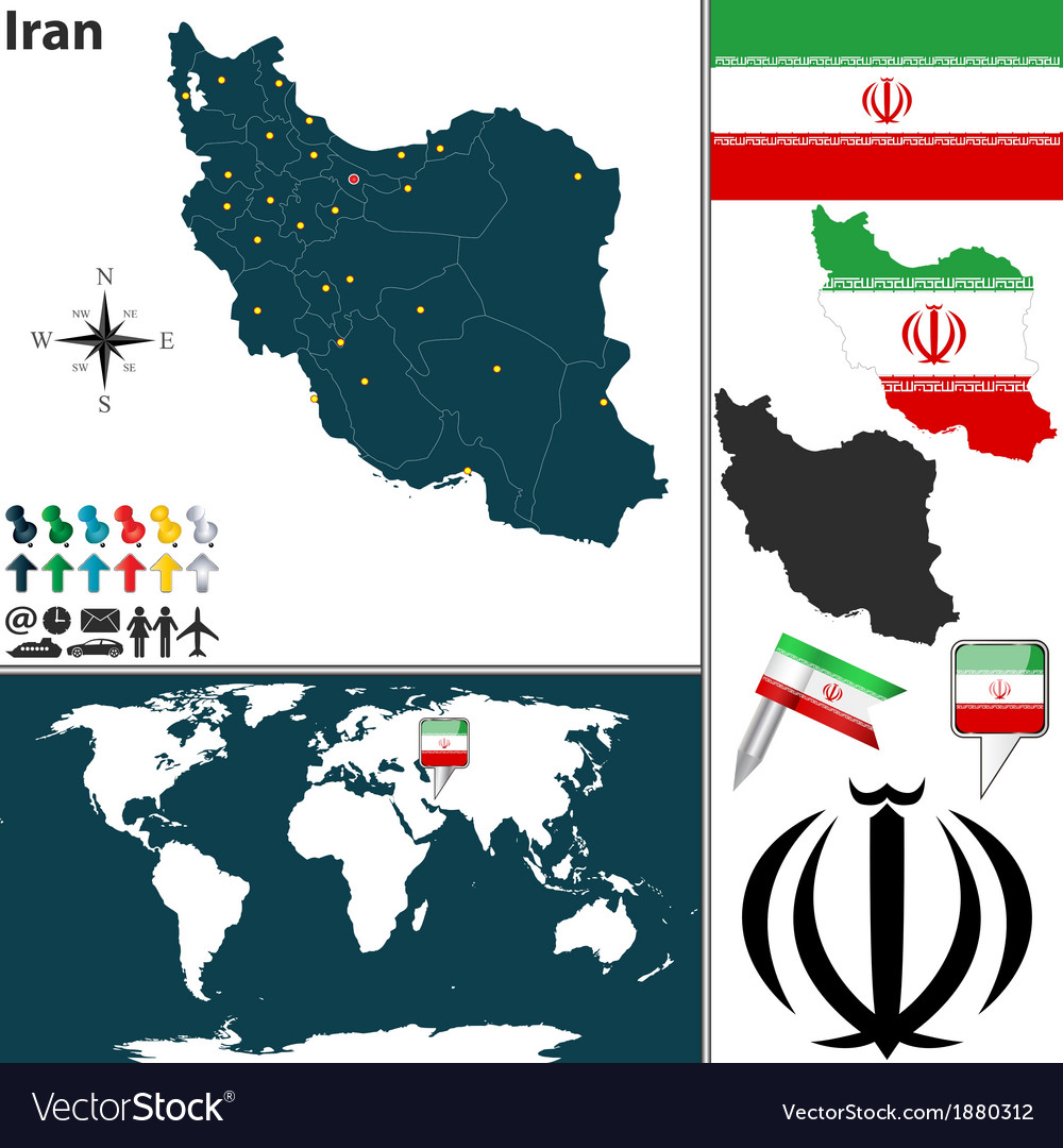 Iran map world vector | Price: 1 Credit (USD $1)