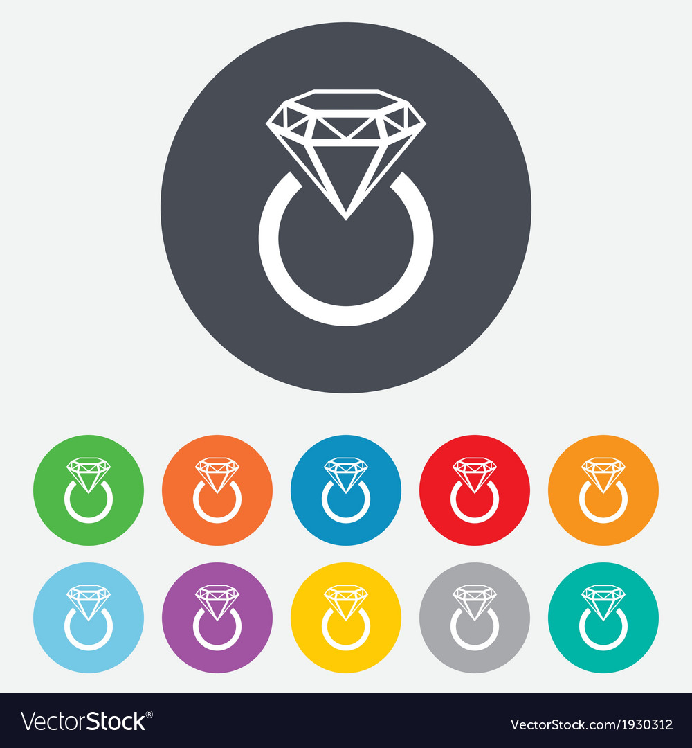 Jewelry sign icon ring with diamond symbol vector | Price: 1 Credit (USD $1)