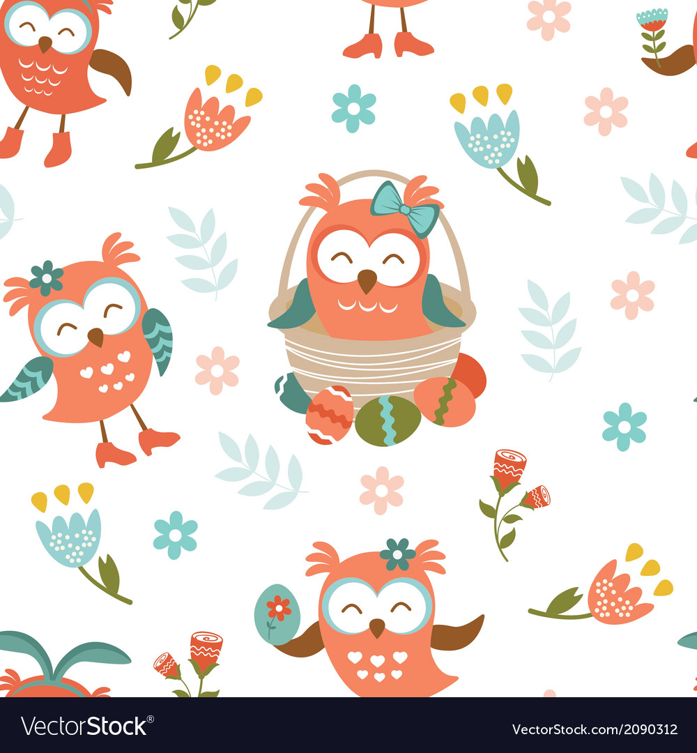 Pattern with easter owls vector | Price: 1 Credit (USD $1)