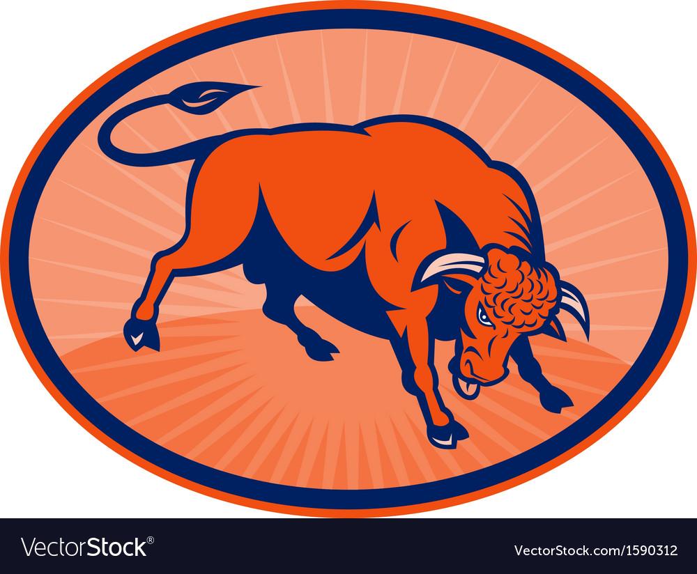 Raging bull sunburst vector | Price: 1 Credit (USD $1)