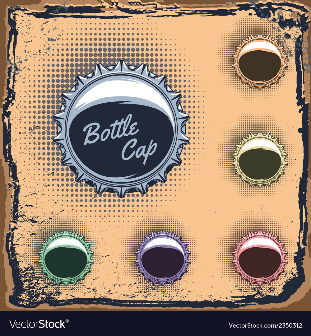 Set of multicolored bottle caps on a grungy backgr vector | Price: 1 Credit (USD $1)