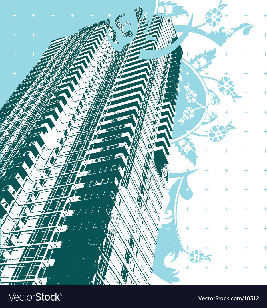 Skyscraper and blue curves vector | Price: 1 Credit (USD $1)