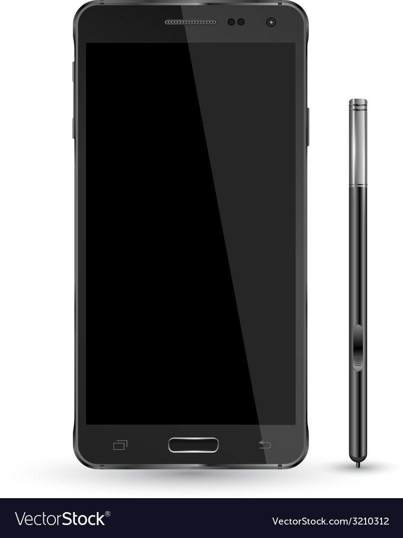 Smartphone realistic mockup with digital pen vector | Price: 1 Credit (USD $1)