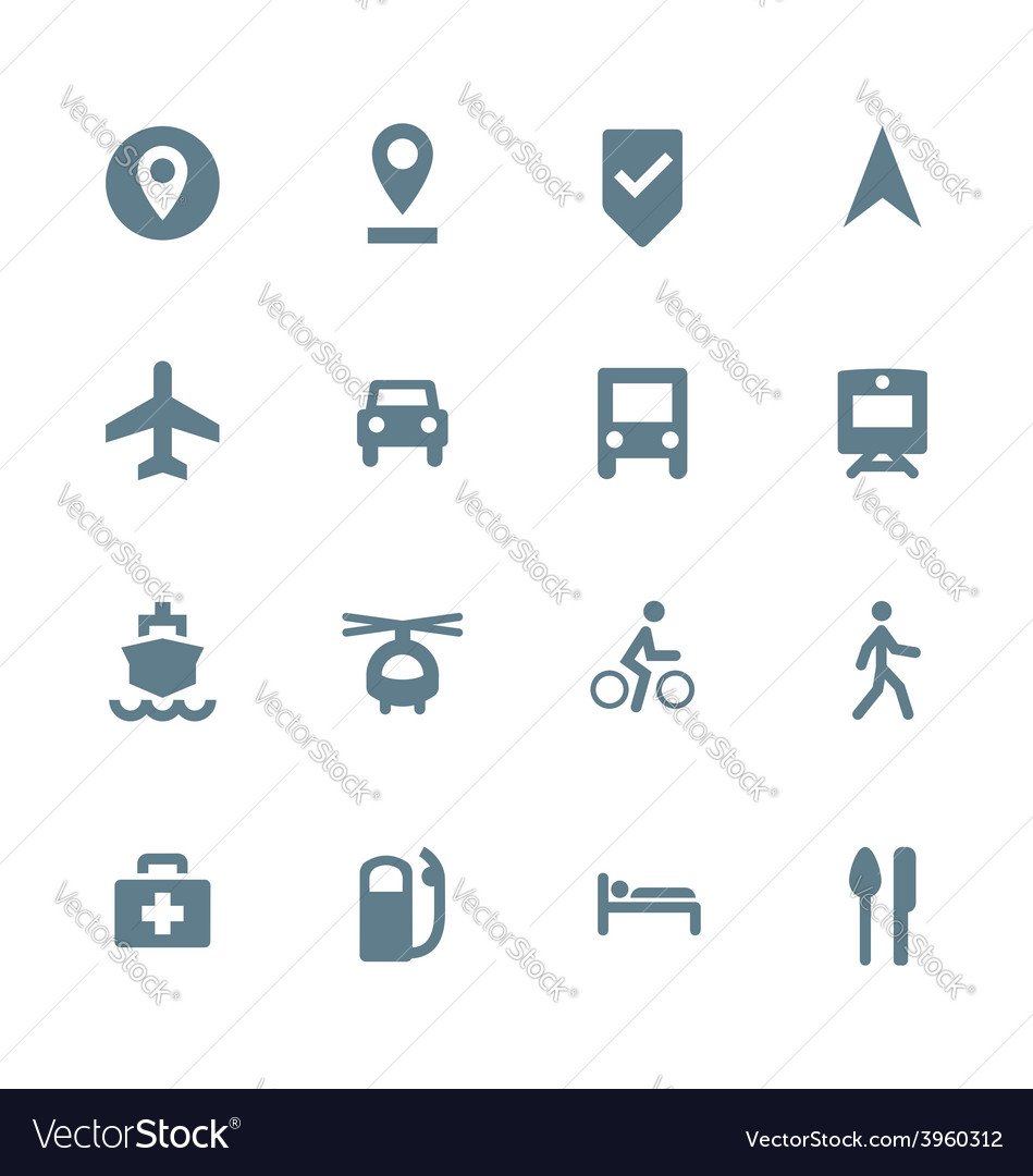 Solid grey various map navigation icons set vector | Price: 1 Credit (USD $1)