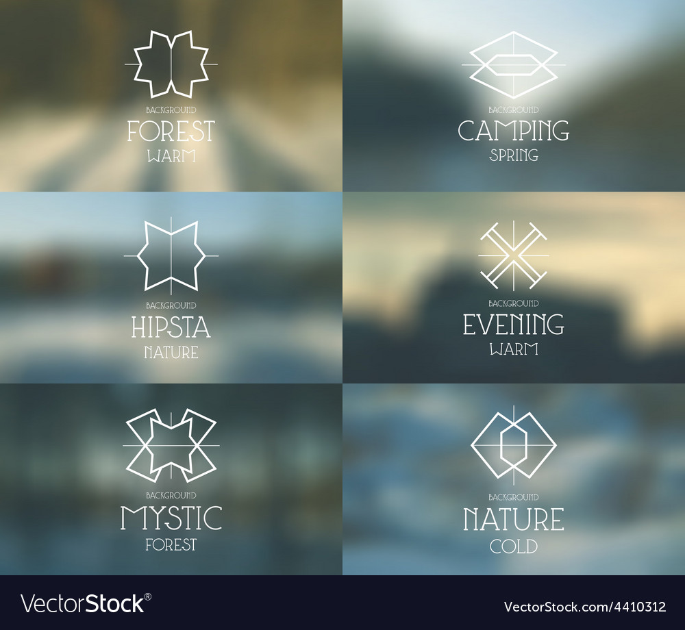 Spring forest blurred background and emblems vector | Price: 1 Credit (USD $1)
