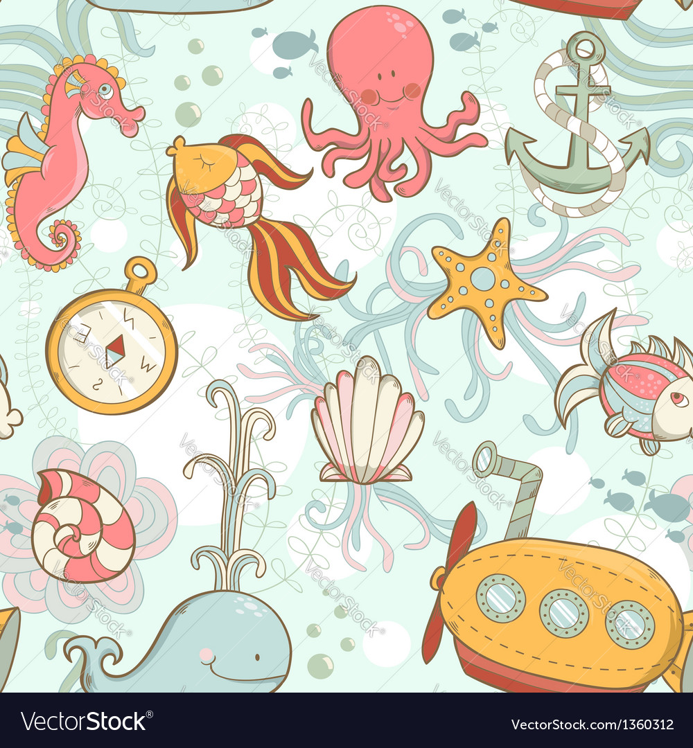 Underwater creatures cute cartoon seamless pattern vector | Price: 3 Credit (USD $3)