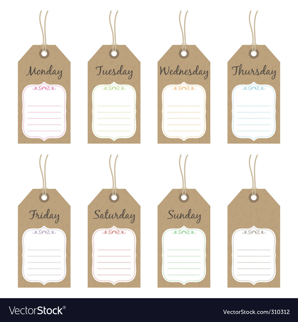 Weekly tags vector | Price: 1 Credit (USD $1)