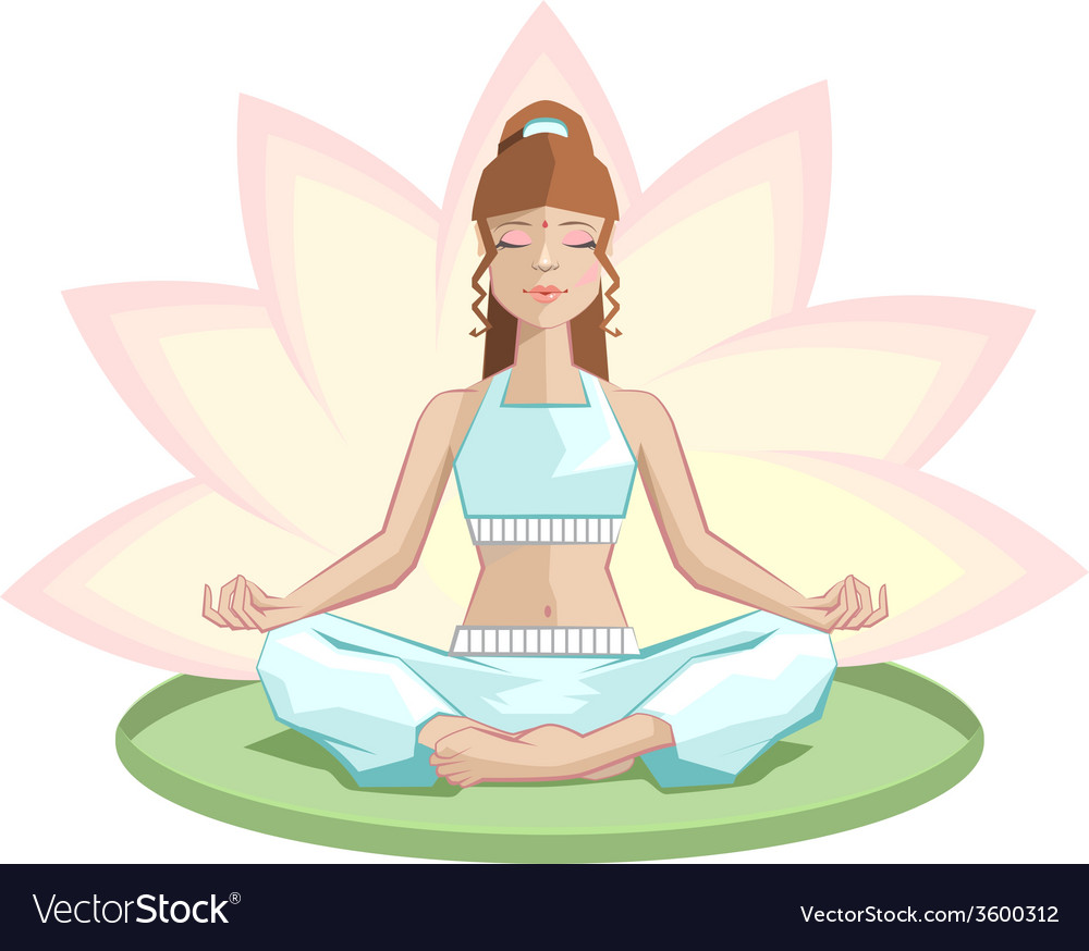 Yoga beautiful girl meditating in lotus position vector | Price: 1 Credit (USD $1)