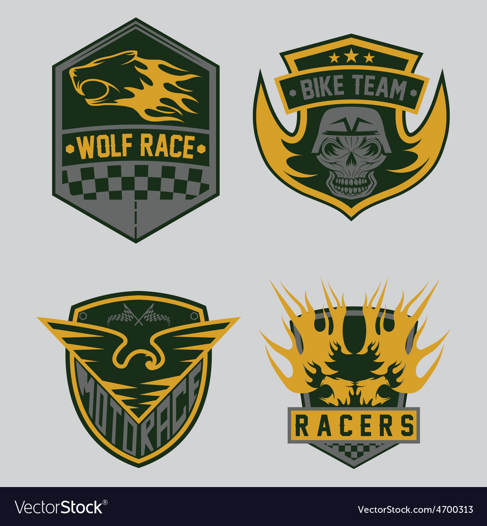 Auto and moto racing emblem set and design vector | Price: 1 Credit (USD $1)