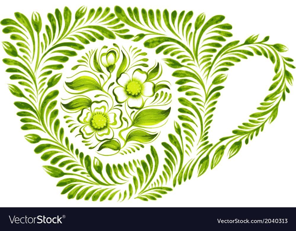 Decorative ornament teacup vector   Price: 1 Credit (USD $1)