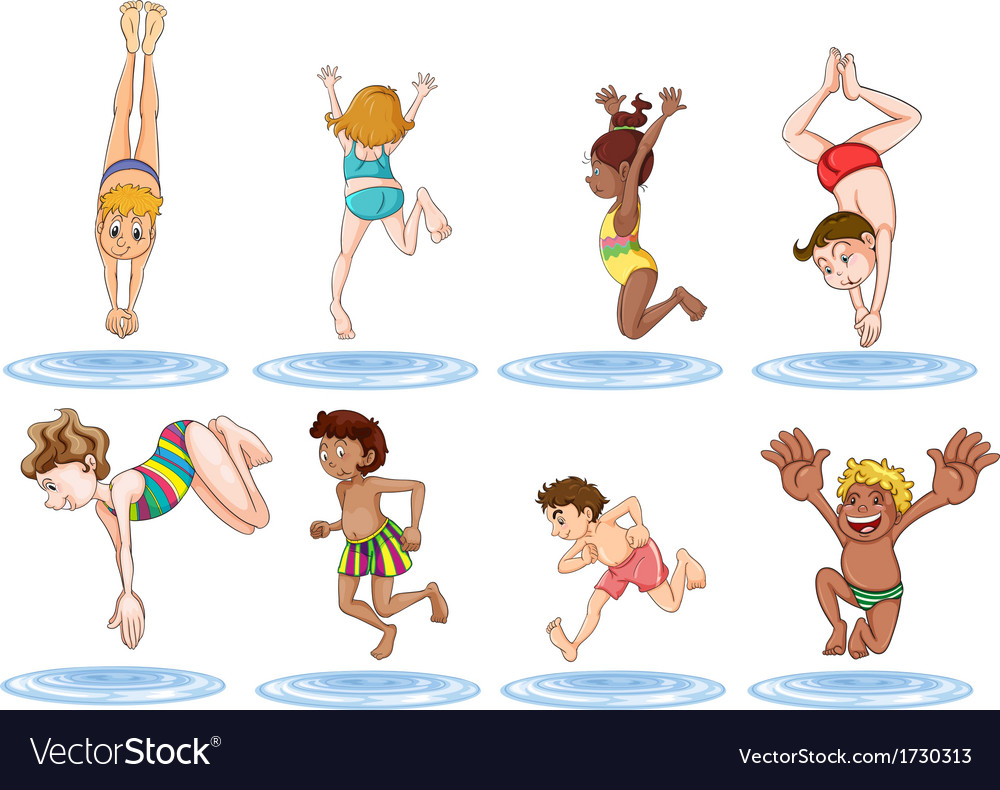 Different kids enjoying the water vector | Price: 1 Credit (USD $1)