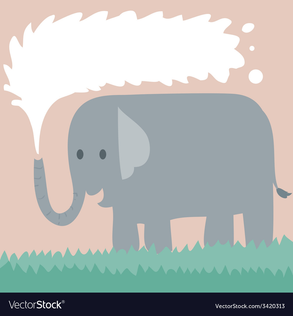 Elephant on grass vector | Price: 1 Credit (USD $1)