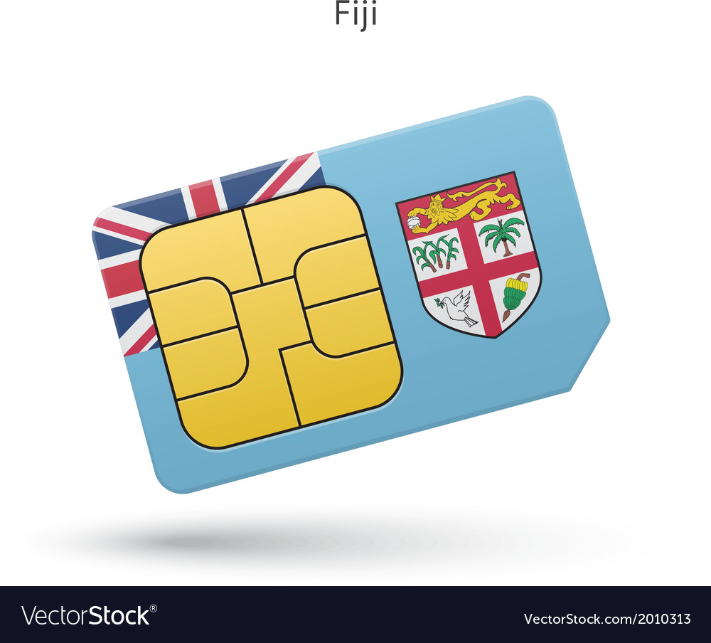 Fiji mobile phone sim card with flag vector | Price: 1 Credit (USD $1)