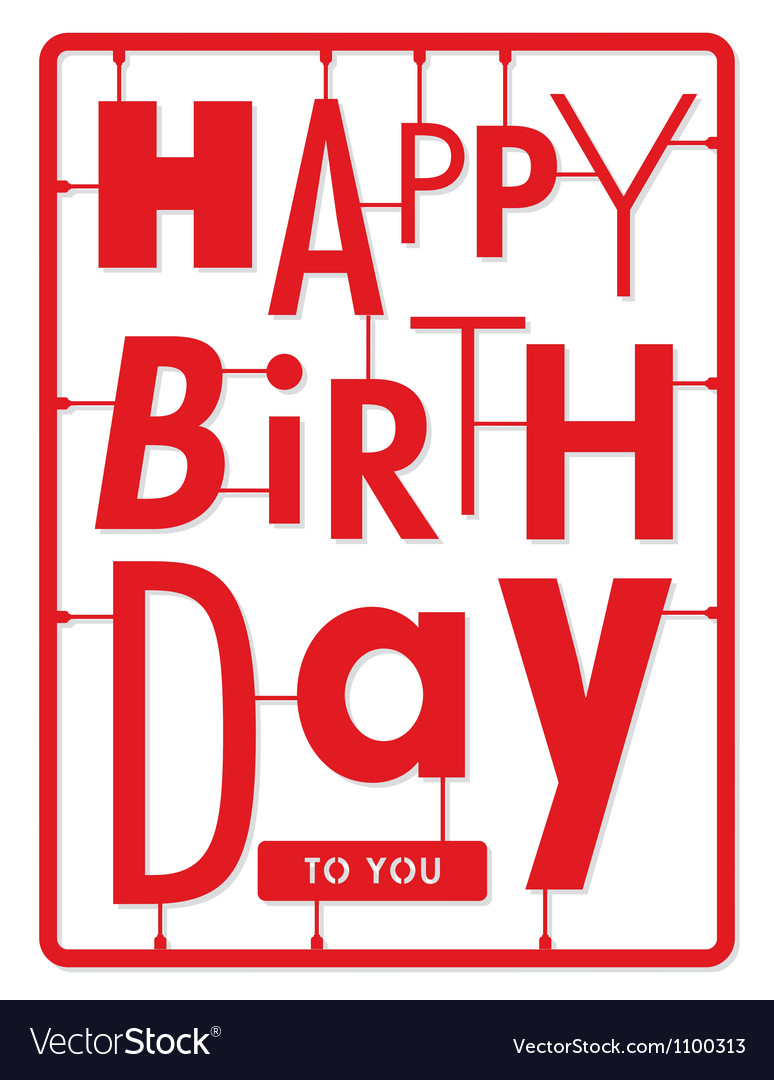 Happy birthday card typography letters type font vector | Price: 1 Credit (USD $1)
