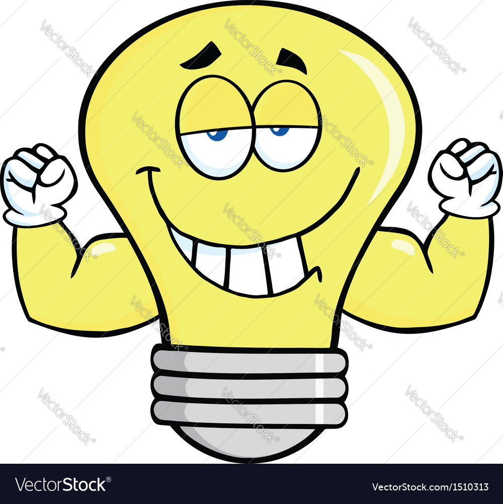 Light bulb with gym muscles vector | Price: 1 Credit (USD $1)