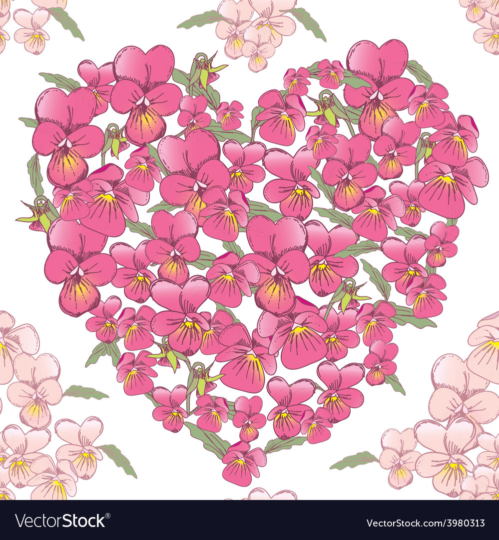 Pink heart of pansies on a white background vector | Price: 1 Credit (USD $1)