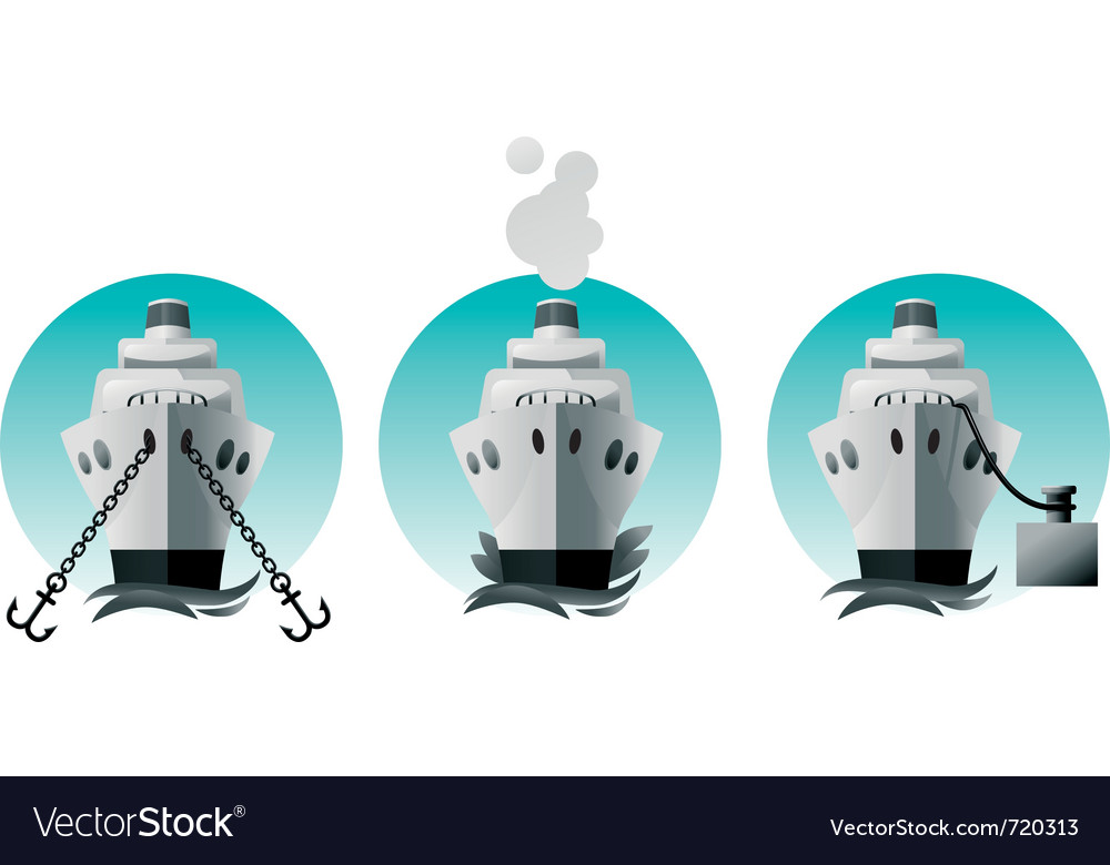 Ship in various situations vector | Price: 3 Credit (USD $3)